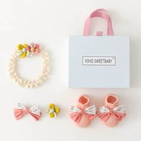 Newborn Socks Cotton Baby Booties Girls Accessories Princess Infant Hairband Lace Bows Headbands Flower Hair Clips Barrettes Birthday 4Pcs Sets B6233