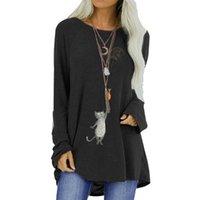 Vicabo Kawaii Cat Pesce stampato grafico T-shirt da donna manica lunga pullover tunica casual allentato femminile