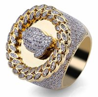 iced out Christian Prayer sign ring for men women bling diamond flash ring gold silver copper zircon couple lover ring jewel