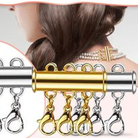 Pendant Necklaces S Creative Ladies 4pcs Magnetic Clasps For Necklace Gold And Silver Plated Tube Lock Connectors Bracelet Jewelry