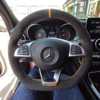 For Mercedes-Benz C-Class C200 GLC260L E-Class E300L S-Class DIY custom suede car steering wheel cover interior special car accessories
