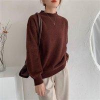 FMFSSOM Новая осень зима сплошной подделкой норки кашемировые теплые женские свитеры пуловер негабаритные корейские элегантные леди перемычки