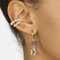 charm Earring Set alloy oil dripping fish pendant female Pearl earclip