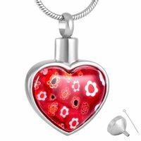 8427 Murano vetro fiore cuore ciondolo urna collana memoriale keepsake cremation ceneri gioielli