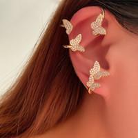 Pretty Diamond 3D Buffly Ear Polsello di BUFR Fashion Designer di lusso Orecchini di polsino per donna ragazze con scatola regalo oro 87 R2