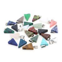 Natural Stone Crystal Quartz Triangle DIY Pendant Necklaces Jewelry For Women Men Decor Fashion Accessories 1211 B3