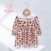 ماي xuxiu 2021 الربيع والخريف البحرية طوق اللباس المطبوعة المرأة الصيف الفراولة الأميرة تنورة القطن طويل الأكمام ملابس الأطفال