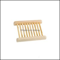 Dishes Aessories Home & Garden Natural Bamboo Trays Wholesale Dish Wooden Soap Tray Holder Rack Plate Box Container For Bath Shower Bathroom