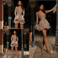 Long Sleeve 2020 Cocktail Dresses Sexy Short Deep V Neck Flowers Beads Prom Dress See Through Crystal Mini Evening Gowns
