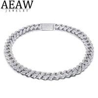 AEAW 18 Zoll 925 Sterling Silber Einstellung Euro ausgeschnitten Moissanit Diamant Hip Hop Cuban Link Kette Miami Halskette Schmuck für Herren 0308