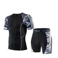 Gym Clothing Mens Sport Running Set Compression T-Shirt + Pants Skin-Tight Short Sleeves Fitness Rash Guard Training Clothes Yoga Suits