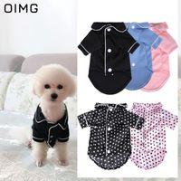 Ropa para perros Oimg Pijamas de lujo botón sólido ropa de dormir mascota ropa de dormir de invierno camisas de gato de perros para perros Mascotas camisetas