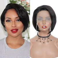 Lace Wigs L Part Remy Straight Hair Short Bob Pixie Cut Human For Black Women 150% Pre Plucked Bleached Knots