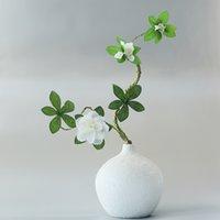 Branca Azáleas Ramo com folhas verdes e espuma fácil de formar galhos artificiais de flores artificiais para decorações de casamento em casa
