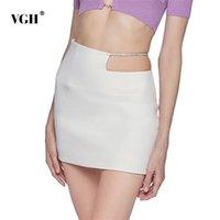 Beyaz Kadınlar Için Bodycon Etek Oymak Yüksek Bel Patchwork Zincir Bir Çizgi Mini Etekler Kadın Kore Yaz Moda Giyim 210531