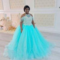 Lace Beaded 2021 Flower Girl Dresses Sheer Neck Little Girl Wedding Dresses Cheap Communion Pageant Dresses Gowns ZJ737