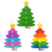Christmas Tree Push Bubble Toys DIY Puzzles Fidget Decompression Silicone Stress Reliever Fingertip Toy Kids Gifts Party Favor RRA4462