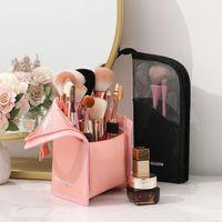 Stand Saco Cosmético para Mulheres Clear Zipper Maquiagem Bag Travel Feminino Maquiagem Escova de Maquiagem Organizador Bag Organizador Frete Grátis
