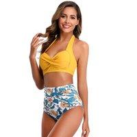 Women's Swimwear Halter Top Push Up Summer High Waisted Bikini Set Swimsuit Sexy Women Brazilian Bathing Suits Woman 2021