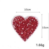 3.5 سنتيمتر * 3.5 سنتيمتر حجر الراين بقع الحديد على الحب الأحمر القلب appliqued diy الخياطة ملصقات 7 لون نقل ملصقا على الملابس الملابس شارة