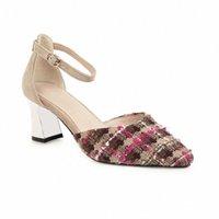 Summers Mkkhou New One Line Fibbia con punta a punta e 6cm tacco a tacco alto con tacco alto sandali e scarpe da donna con scarpe da donna Comfortable F5V7 #