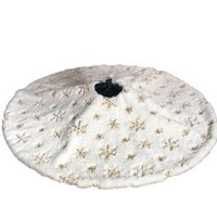 Christmas Decorations 122Cm White Flannel Embroidered Snowflake Tree Skirt Year Home Decoration