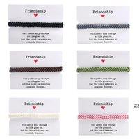 Мода Дружба браслеты очарования для женщин ручной работы плетеный браслет с бумажной картой Регулируемый богемный стиль Wax веревка HWA8544