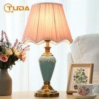테이블 램프 Tuda 미국 스타일 침실 거실에 대 한 간단한 블루 세라믹 램프 침대 옆 많은 연구 결혼식