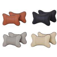 Seat Cushions 2pcs PU Leather Ventilation Car Headrest Neck Pillow Comfortable Cushion Relax Muscles 27x18x9cm