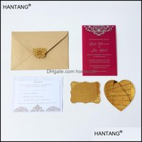 Grußveranstaltung Festliche Partei liefert Home GardenGreeting-Karten 115x175mm Rec-Form Burgandy Farbe Acryl Hochzeitseinladungskarte 100