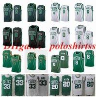 "Stitched Big Yards S-6XL Jayson 0 Tatum Boston ""Celtics"" Maglie di basket Green Bianco Bil 20 Allen Kemba 8 Camminatore Jersey Fans NCAA Mens Edition City"