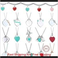 TIFF-Halskette 925 Silber Anhänger Halskette Weibliche Schmuck Exquisite Handwerkskunst mit offiziellen Logo Classic Blue Heart Halskette 8A1TN JLKXT