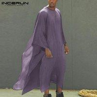 Ethnische Kleidung Männer Roben Lose Streetwear Unregelmäßige Kaftan Feste Farbe Islamische arabische muslimische Kaftan O Neck Vintage Kleidung S-5XL Inckerun