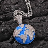 Кулон ожерелья хип-хоп полностью вытянутый пузырьковый глобус ожерелье мужские женские ювелирные изделия подарки роскошные Bling мода хип-хоп для мужчин