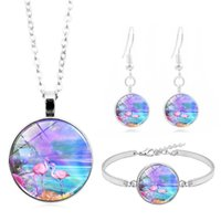 Earrings & Necklace Butterfly Flamingo Po Glass Cabochon Fashion Jewelry Set Bracelet Earring Sets For Women