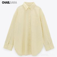 Women's Jackets Women Casual Yellow Striped Loose Smock Blouse Business Shirt Chic Blusas Tops