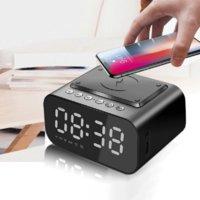Wireless Charger Alarm Clock Bluetooth Speaker LED Smart Digital Table Electronic Desktop Clocks Fm Radio USB Fast Charging