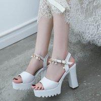 Sandals 2021 Summer Ladies Women Shoes Fish Mouth Rhinestone Platform High Heels Buckle Strap Woman Casual
