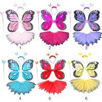 Adult Kids 4Pcs Fairy Costume Set LED Simulation Butterfly Wings Pointed Tutu Skirt Headband Wand Princess Girls Party Dress Up