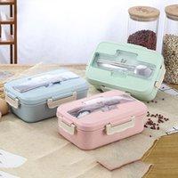 Louça de jantar conjuntos de palha estudante aquecido almoço caixa de almoço recipiente selado com colheres chopsticks 3 camadas divididas
