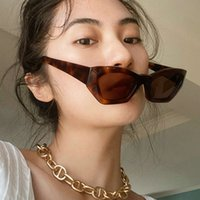 2021 New Cat Eye Sunglass Fashion Women Men Small Frame Ladi Sun G Lass Transparent Green Eyewear Glass Frame UV400