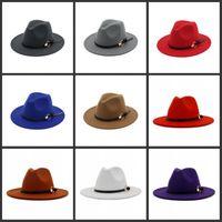 DHL المرأة فيدورا قبعة لشخص الصوف واسعة بريم جاز كنيسة كاب الفرقة واسعة شقة بريم الجاز القبعات أنيقة تريلبي بنما قبعات 41 Y2