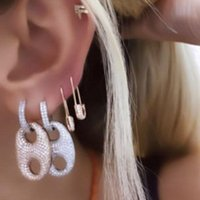 Hoop & Huggie 2021 Iced Out Sparking Bling CZ Girl Women Fashion Trendy Jewelry Micro Pave Full Cubic Zirconia Paved Mini Charm Earring