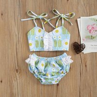 One-Pieces Bron Baby Girls 2pcs Swimwear Infant Kids Summer Swimming Clothes Set Floral Printed Pattern Suspender Top + Shorts Beachwear
