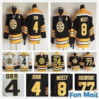 Çocuklar Vintage Boston Bruins 4 Bobby Orr Hokey Jersey 8 Cam Neely 77 Ray Bourque 24 Terry O'Reilly Gençlik Erkek Çocuk Retro CCM Siyah Formalar