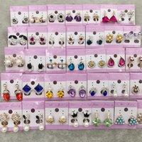 Diamond Stud Drop Earrings Wedding Crown Princess Dangle Silver Gold Pearl Opal Trendy Black earrings Valentine Gift Free DHL