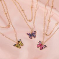 Vintage Multilayer Pendant Butterfly Necklace for Women Butterflies Charm Choker Necklaces Boho Fashion Jewelry Gift
