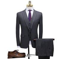 2019 erkek ekose takım elbise üç parçalı damatın gelinlik
