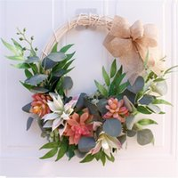 Decorative Flowers & Wreaths Artificial Rose Succulent Wreath Home Living Room Wall Door Hanging Decor Easter Spring Wedding Decoration
