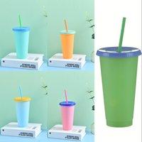 الصيف 24 أوقية تغيير أكواب اللون مثلج القهوة crinkware pp ماجيك كوب البلاستيك قابلة لإعادة الاستخدام مع القش مجموعة كؤوس مشروب الباردة RRD7659